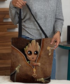 Baby Groot as Leather Zipper tote bag3