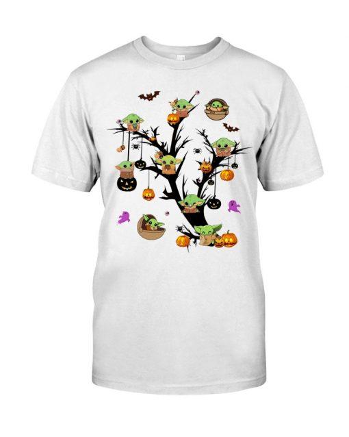 Baby Yoda Halloween tree T-shirt