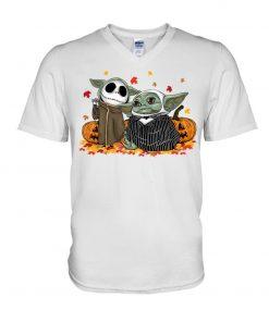 Baby Yoda Jack Skellington Halloween V-neck