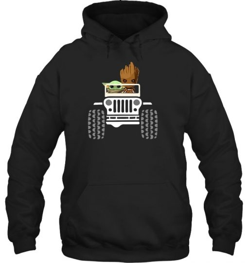 Baby Yoda and Baby Groot Jeep Hoodie