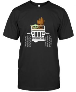 Baby Yoda and Baby Groot Jeep T-shirt