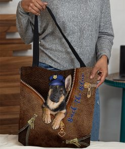 Back the blue Dog as Leather Zipper tote bag 1