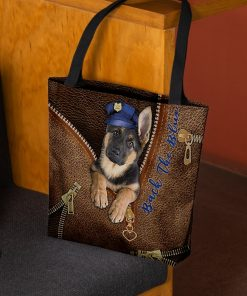 Back the blue Dog as Leather Zipper tote bag 2