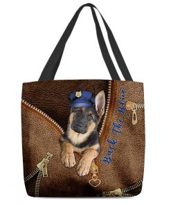 Back the blue Dog as Leather Zipper tote bag 3