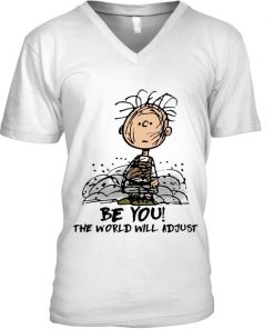 Be You The world will adjust Charlie Brown Peanuts V-neck
