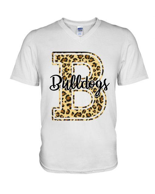 Bulldogs School Mascot Leopard Skin V-neck