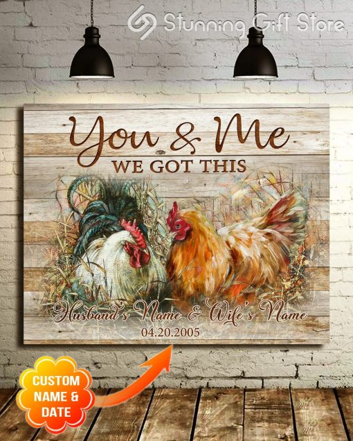 Chicken Farmhouse You And Me We Got This personalized wrapped gallery canvas 1