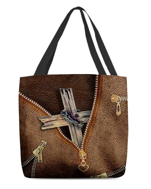 Christian Cross as Leather Zipper tote bag
