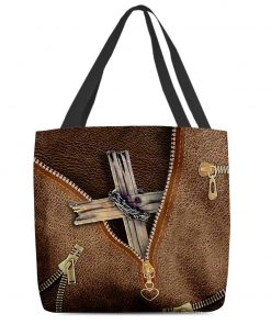 Christian Cross as Leather Zipper tote bag1