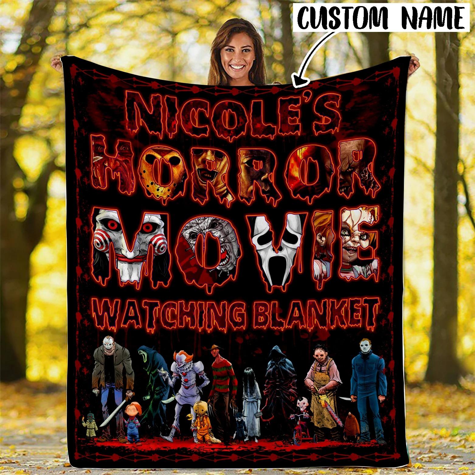 Custom Name Horror Movie Watching Blanket