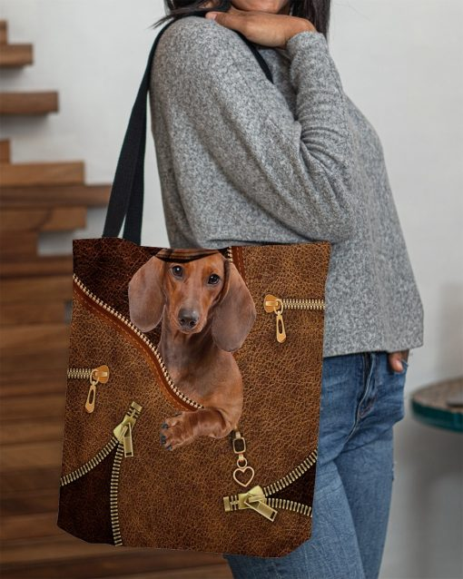 Dachshund as Leather Zipper tote bag2