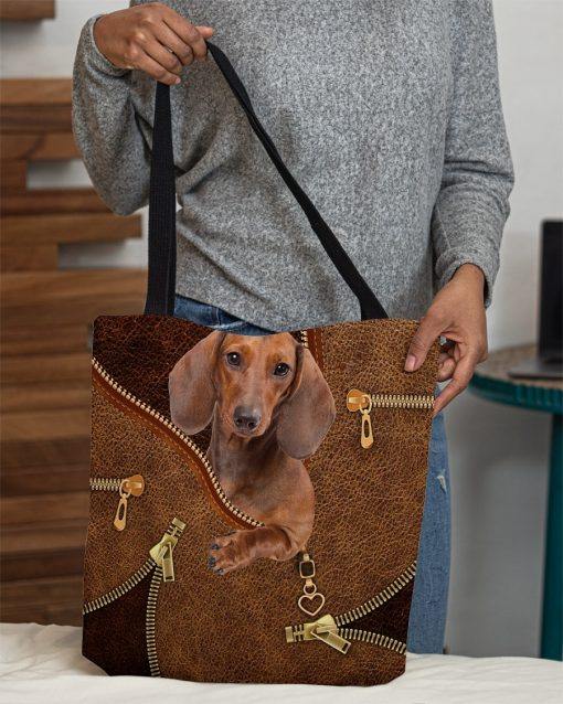 Dachshund as Leather Zipper tote bag3
