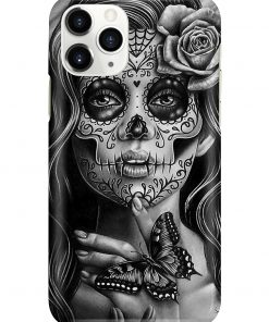 Day of the Dead Sugar Skull Girl Black and White Tattoo Portrait phone case 11