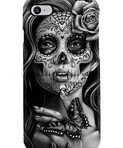 Day of the Dead Sugar Skull Girl Black and White Tattoo Portrait phone case 7
