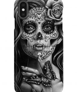 Day of the Dead Sugar Skull Girl Black and White Tattoo Portrait phone case x