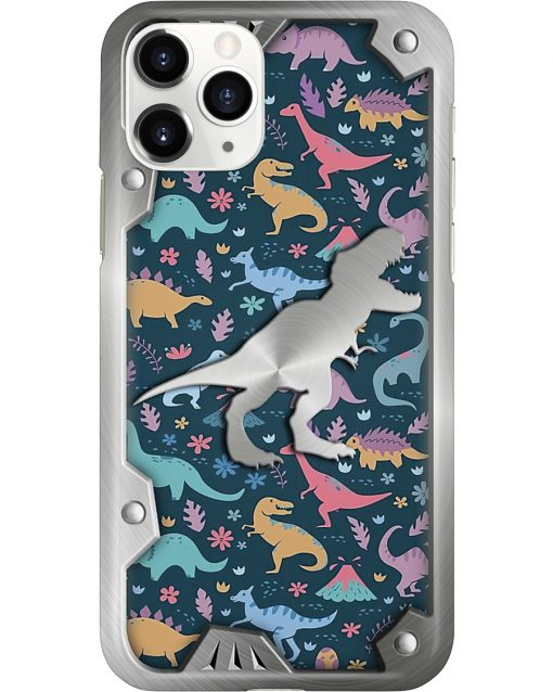 Dinosaurs colorful pattern as metal phone case 11