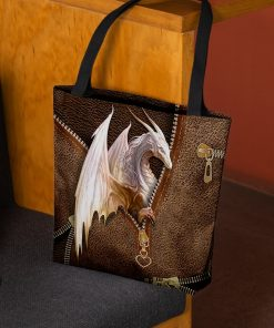 Dragon Leather Zipper All Over Print Tote Bag 1