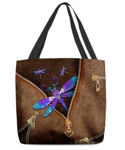 Dragonfly as Leather Zipper tote bag 1
