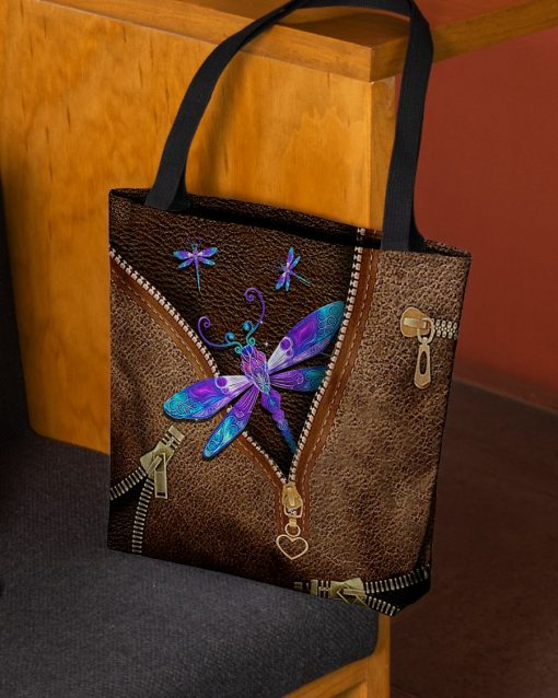 Dragonfly as Leather Zipper tote bag 2