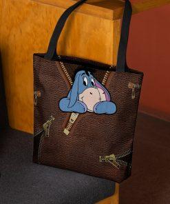 Eeyore as Leather Zipper tote bag 3