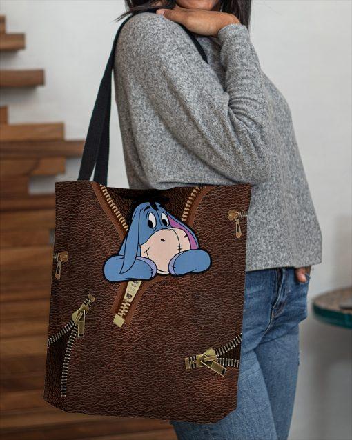Eeyore as Leather Zipper tote bag 4