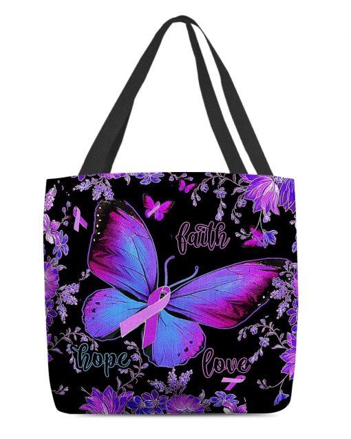 Faith Hope Love Alzheimer's Awareness Butterfly Flower tote bag 1