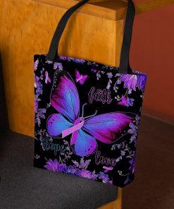 Faith Hope Love Alzheimer's Awareness Butterfly Flower tote bag 3
