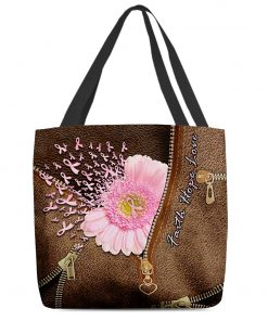 Faith Hope Love Breast cancer awareness as Leather Zipper tote bag 1