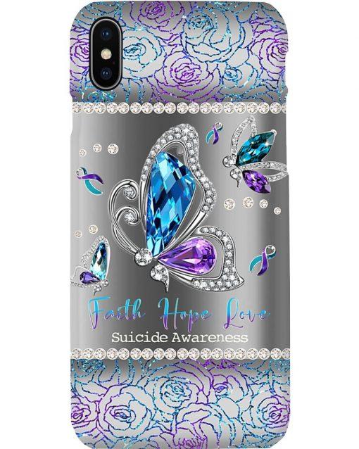 Faith Hope Love Suicide Awareness Sparkle butterfly phone case