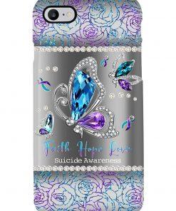 Faith Hope Love Suicide Awareness Sparkle butterfly phone case2