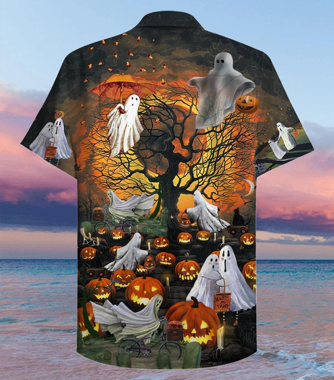 Free Ship Ghosts Halloween Hawaiian Shirt
