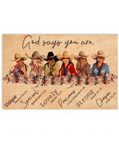 God says you are unique special lovely precious strong chosen Girls Ride Horses poster 1