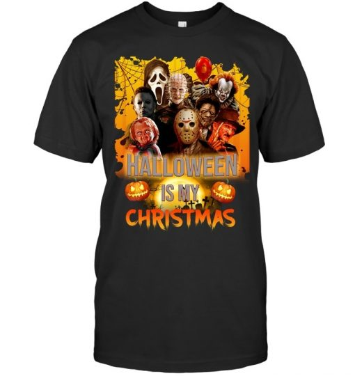 Halloween is my Christmas Horror Movie Characters T-shirt
