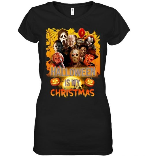 Halloween is my Christmas Horror Movie Characters V-neck