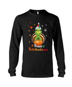 Happy Hallothanksmas Grinch long sleeve