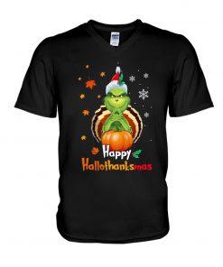 Happy Hallothanksmas Grinch v-neck