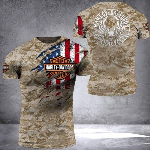 Harley Davidson Motorcycles Camo American Flag 3D shirt