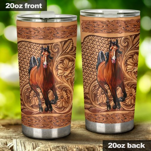 Horse Wood Sculpture tumbler1