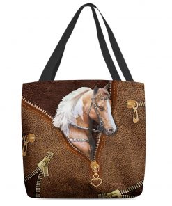 Horse as Leather Zipper tote bag 1
