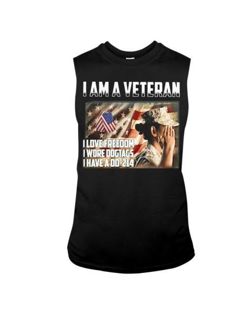 I am a veteran I love freedom I wore dogtags I have a DD-214 Tank top