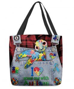 I love someone with Autism Sea turtle tote bag 1