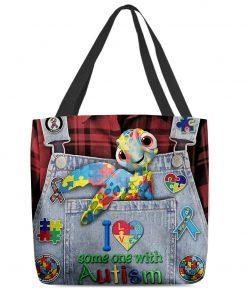 I love someone with Autism Sea turtle tote bag 2