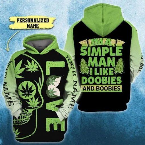 I'm A Simple-Man I Like Doobies and Boobies Skull 3D All Over Printed hoodie2