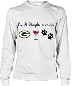 I'm a simple woman who loves Green Bay Packers wine and dogs long sleeve