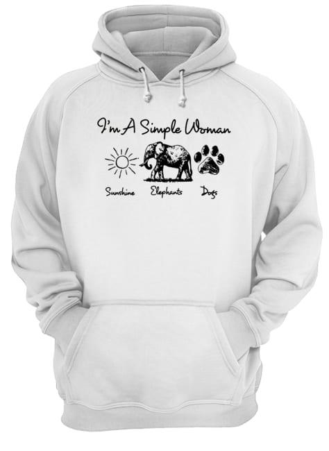 I'm a simple woman who loves sunshine elephants and dogs hoodie