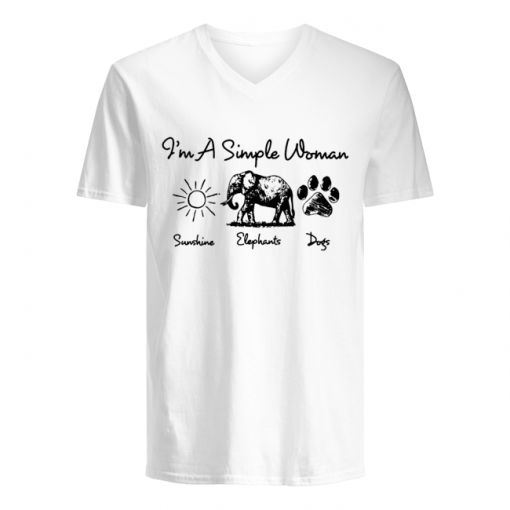 I'm a simple woman who loves sunshine elephants and dogs v-neck