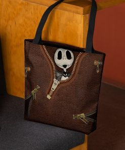 Jack Skellington Leather Zipper All Over Print Tote Bag 1