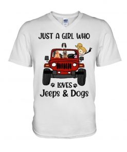 Just a girl who loves Jeeps and Dogs V-neck
