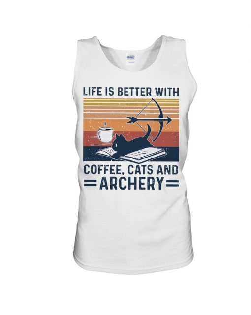 Life is better with coffee cats and archery Tank top