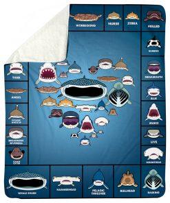 Love shark faces fleece Blanket1